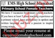 EMS High School Islamabad Jobs 2021 for Female Teachers