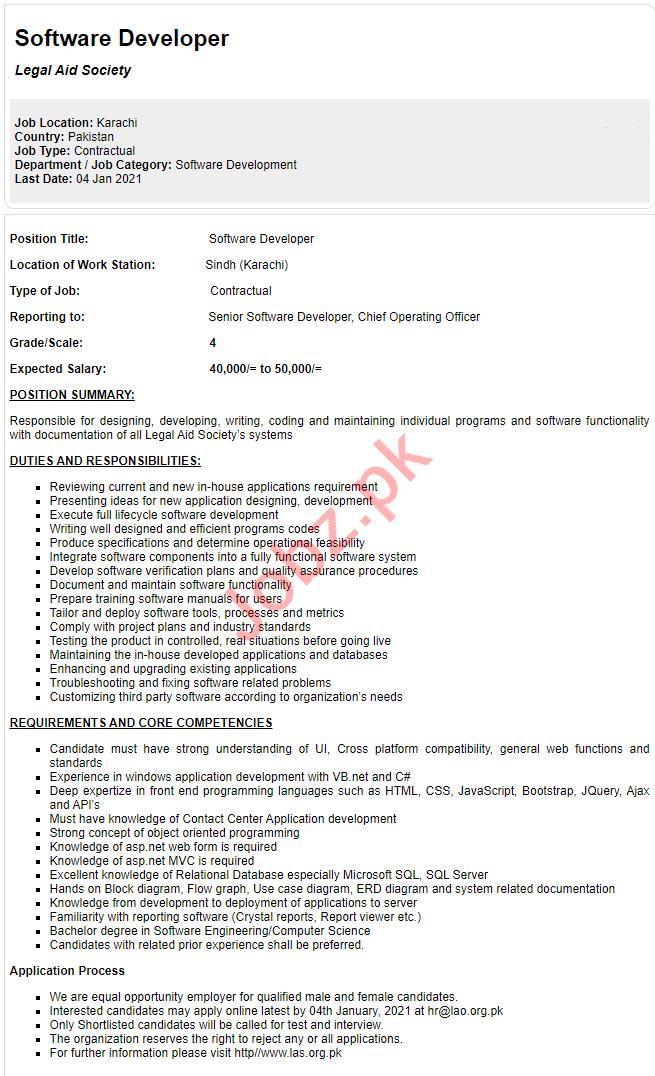 Legal Aid Society LAS Karachi Jobs 2021 Software Developer