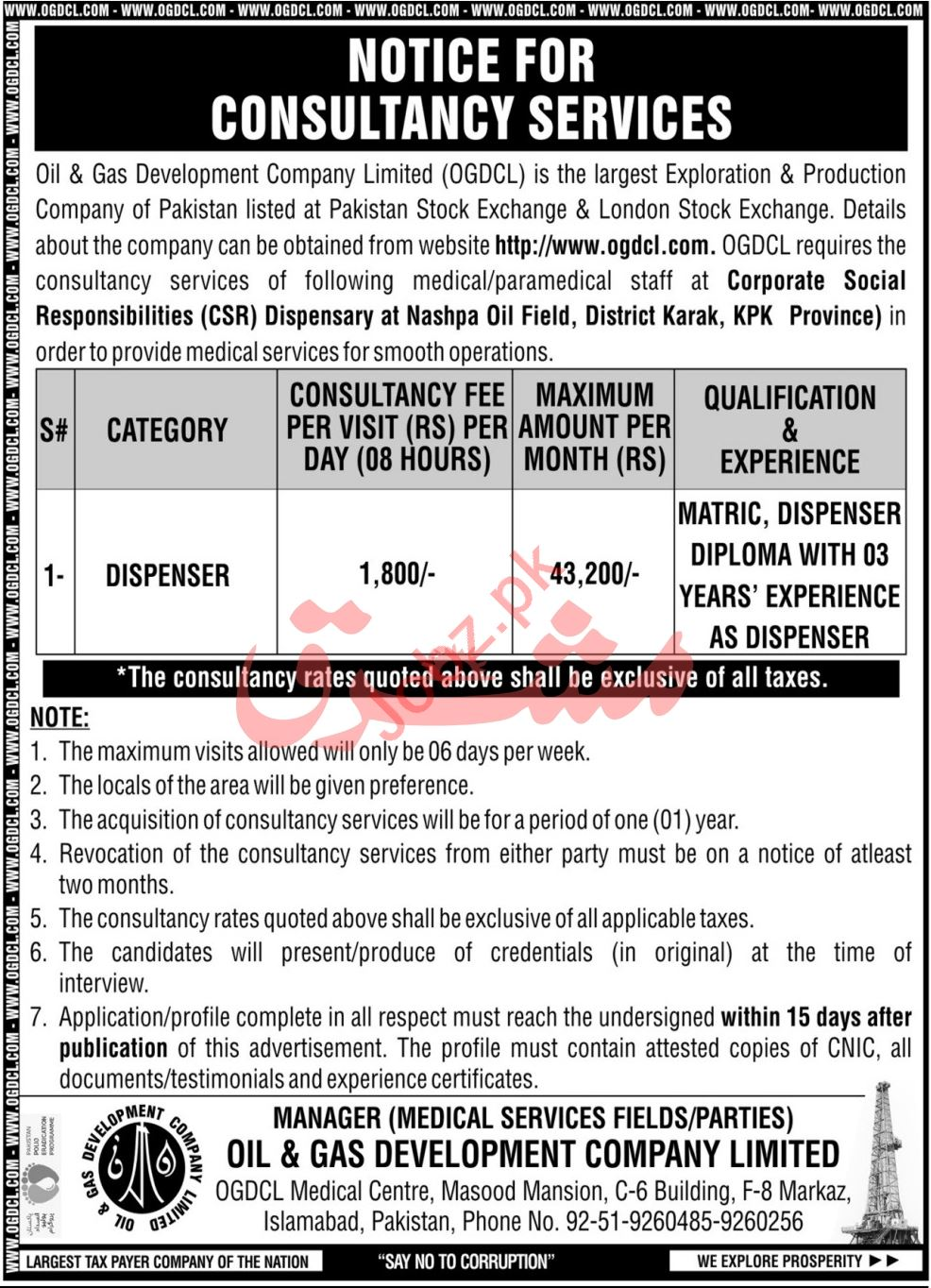 OGDCL Islamabad Jobs 2021 for Dispenser