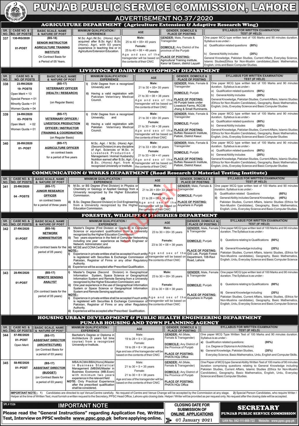 PPSC Jobs 2021 for Veterinary Officer & Research Officer