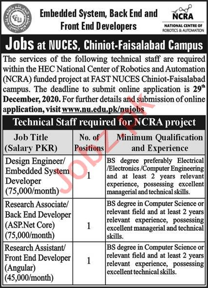 National Centre of Robotics & Automation NCRA Jobs 2021