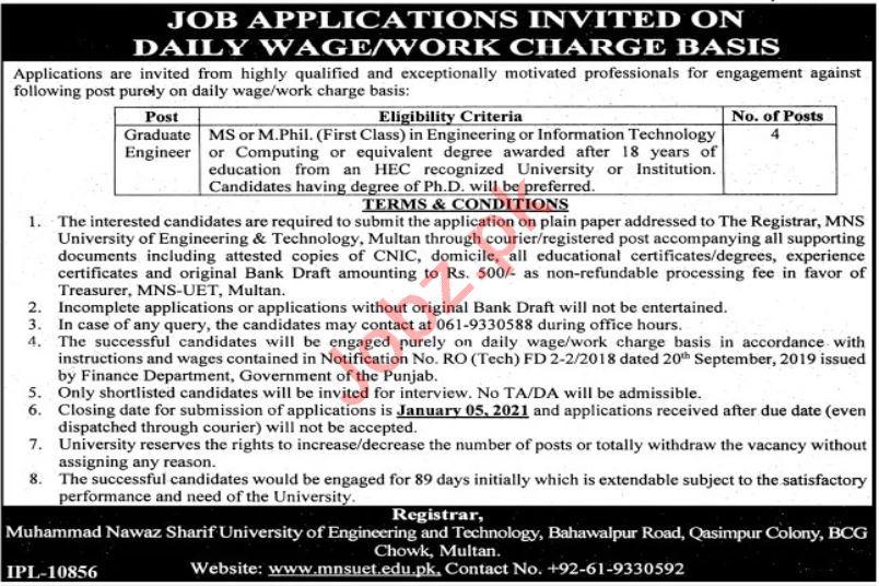 University of Engineering & Technology MNS UET Jobs 2021