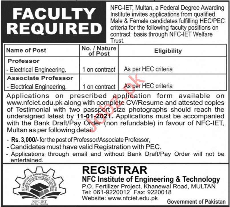 NFC Institute of Engineering & Technology Multan Jobs 2021