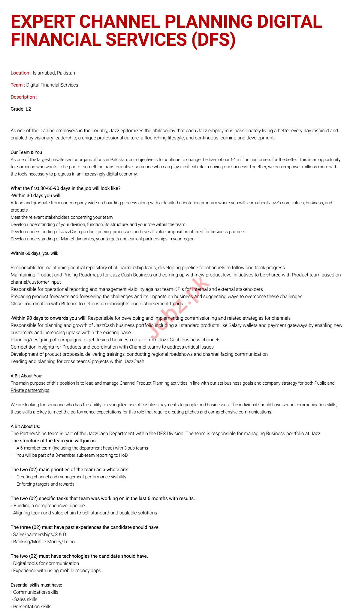 Expert Channel Planning DFS Jobs 2020 in Islamabad