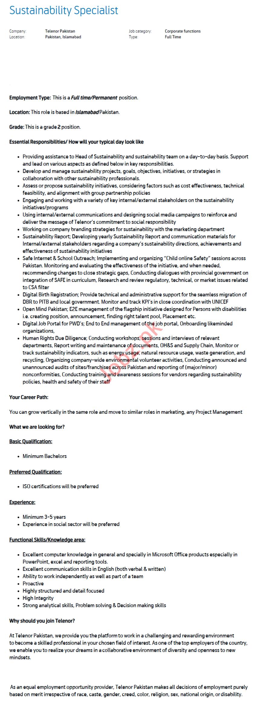 Sustainability Specialist Jobs 2020 for Telenor Pakistan