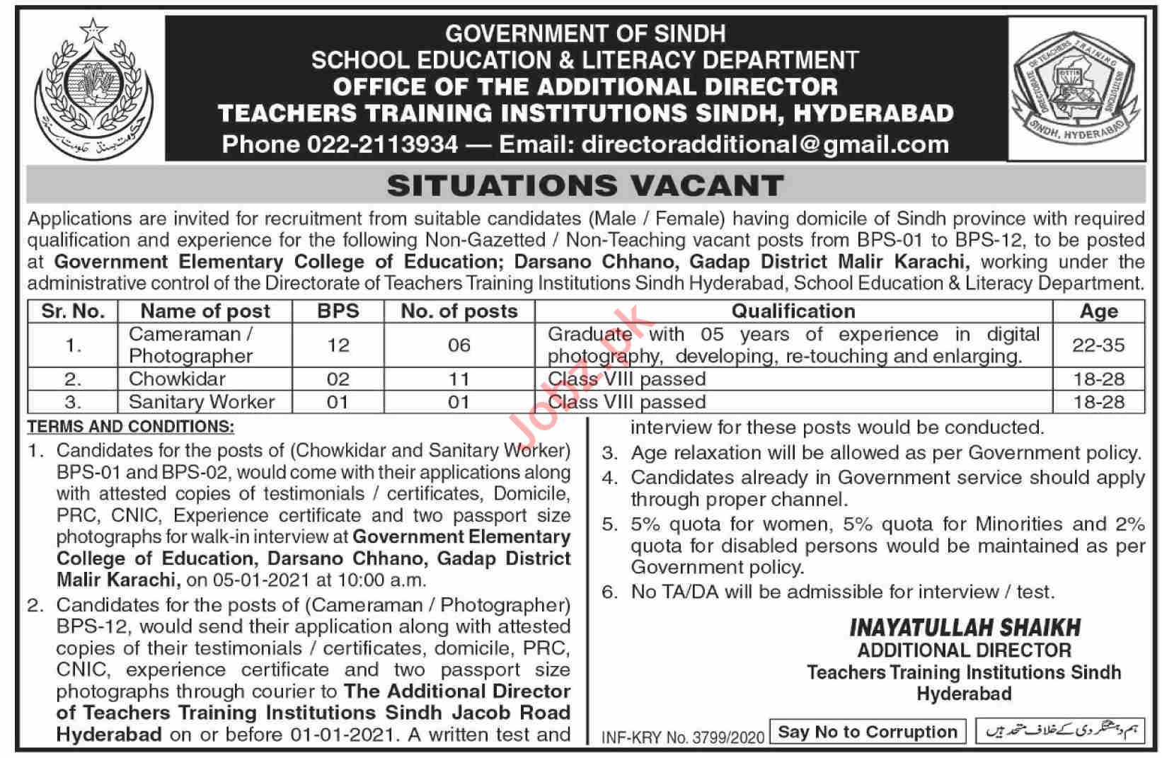 Teachers Training Institute Sindh Hyderabad Jobs 2021
