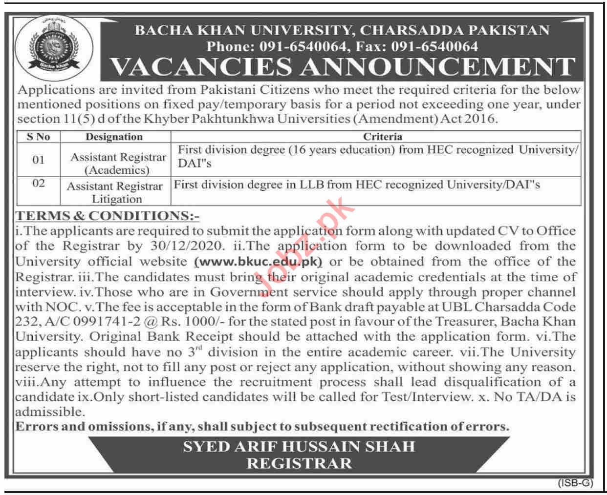 Bacha Khan University Charsadda BKUC Jobs 2021 for Registrar