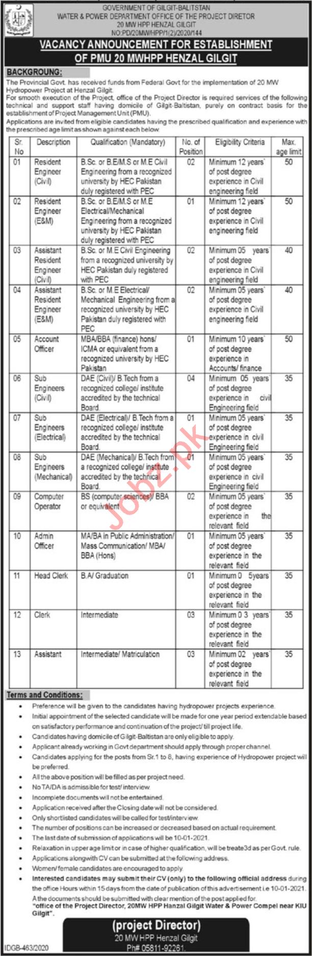 Water & Power Department Gilgit Baltistan Jobs 2021 Engineer