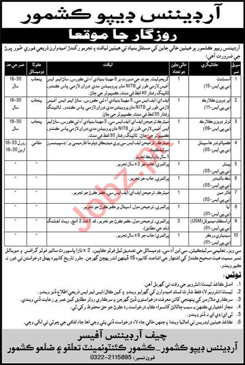 Pakistan Army Ordnance Depot Kashmore Jobs 2021