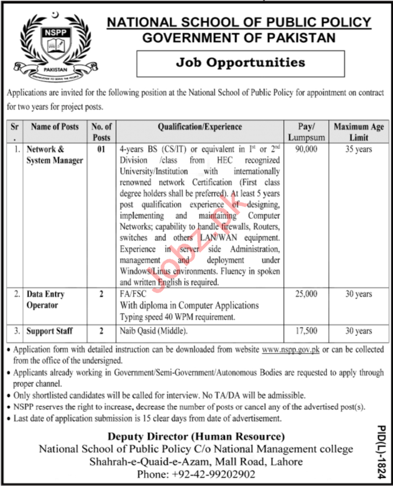 National School of Public Policy NSPP Lahore Jobs 2021