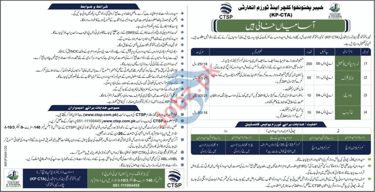 Khyber Pakhtunkhwa Culture & Tourism Authority KP CTA Jobs