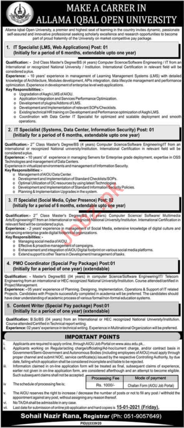 Allama Iqbal Open University AIOU Islamabad Jobs 2021