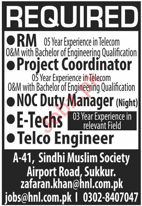 Hitech Networks HNL Jobs 2021 for Telecom Engineer & RM