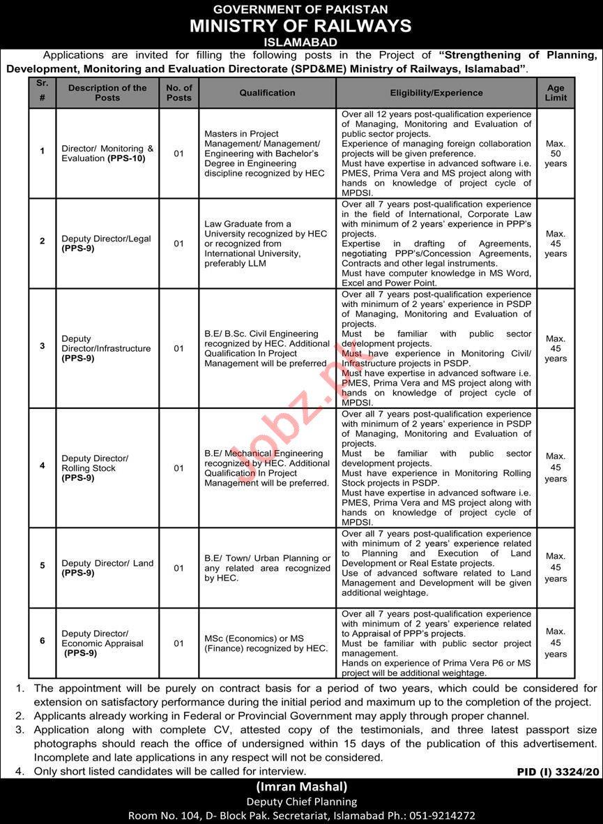 Ministry of Railways SPD&ME Islamabad Jobs 2021 Directors