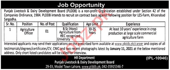 Punjab Livestock PLDDB Jobs 2021 for Agriculture Officers