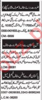 Marketing Staff & Sales Manager Jobs 2021 in Multan