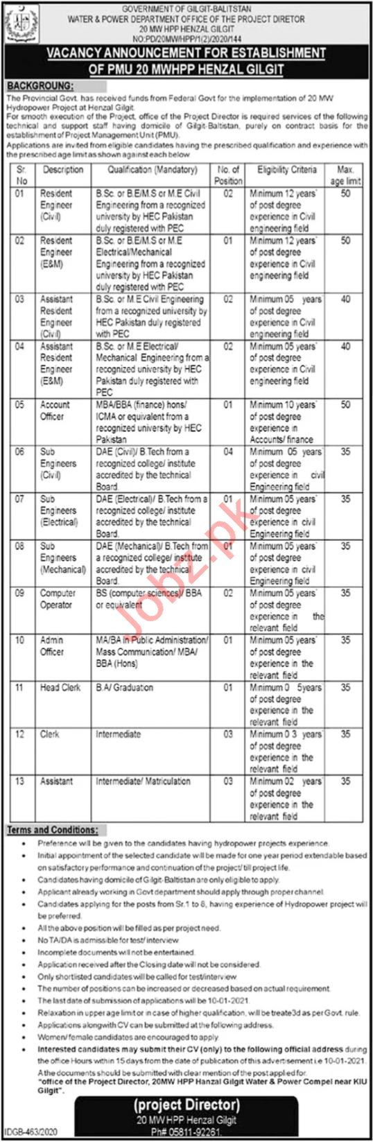 Water & Power 20 MWHPP Henzal Gilgit Jobs 2021 for Engineer