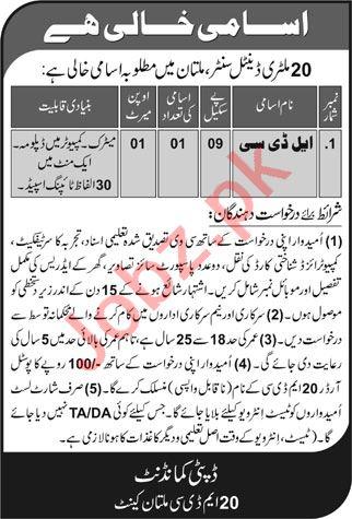 Pak Army 20 Military Dental Centre Multan Jobs 2021 for LDC