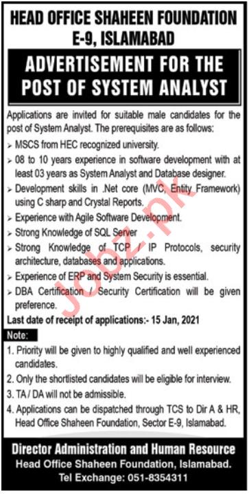 Shaheen Foundation E 9 Islamabad Jobs 2021 for Analyst