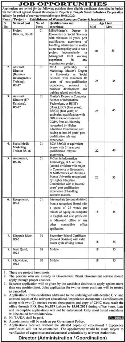 Punjab Small Industries Corporation Jobs 2021
