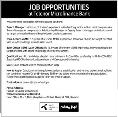 Telenor Microfinance Bank Jobs 2021 in Karachi