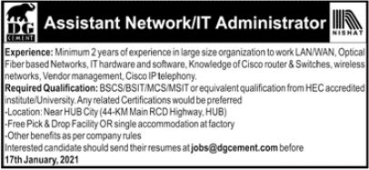 Assistant Network & IT Administrator Jobs 2021