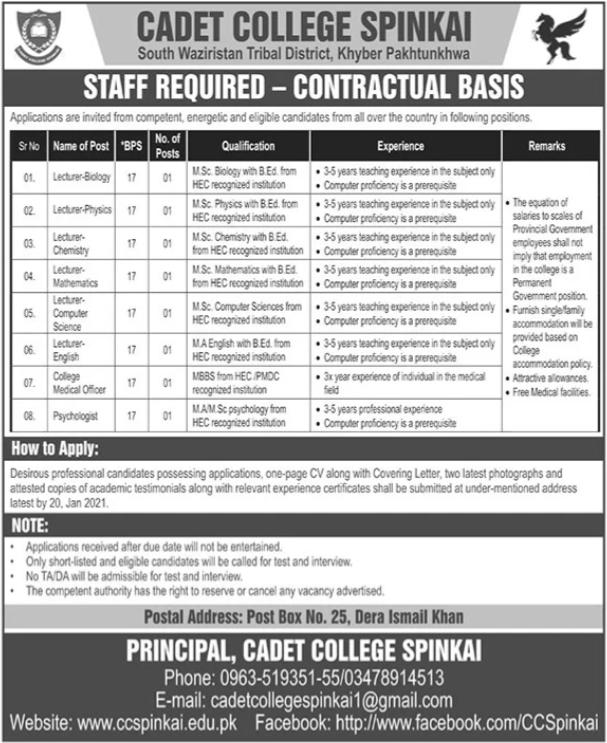 Cadet College Spinkari Jobs 2021