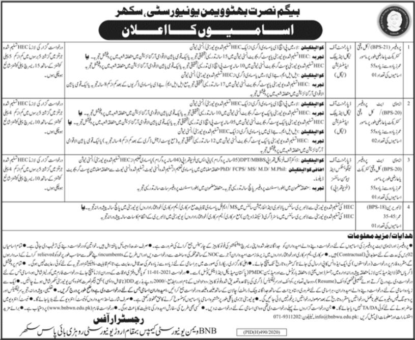 Begum Nusrat Bhutto Women University Jobs 2021