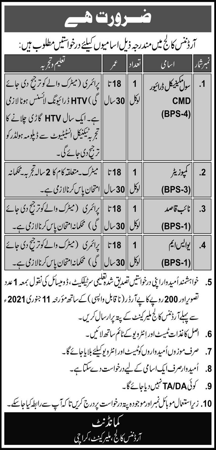 Ordnance College Malir Karachi Jobs 2021