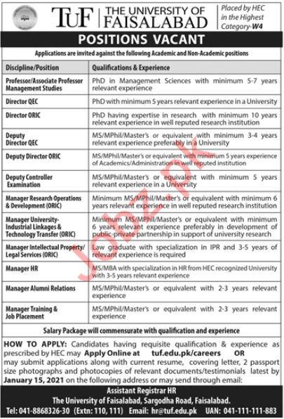 The University of Faisalabad TUF Jobs 2021 for Professors