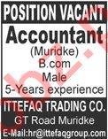 Ittefaq Trading Co Muridke Jobs 2021 for Accountant