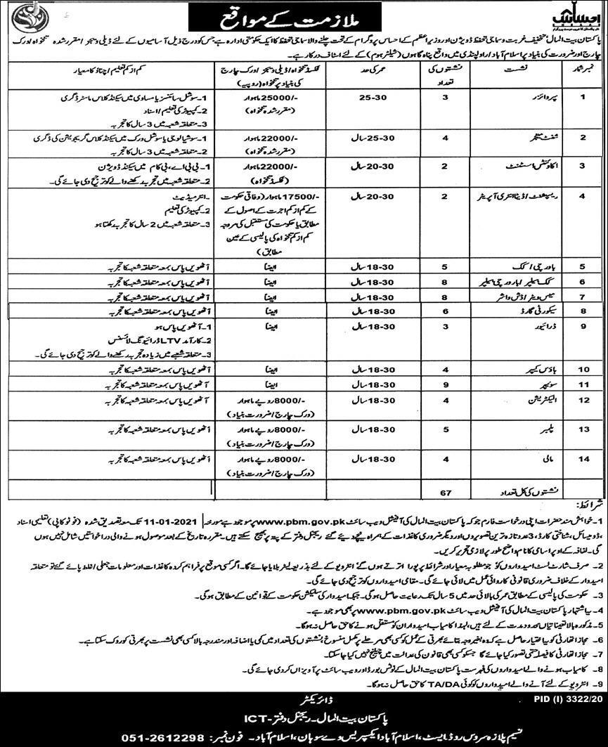 Pakistan Bait ul Mall Ehsas Program Jobs 2021