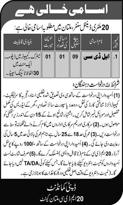 20 Military Dental Center Jobs 2021 in Multan