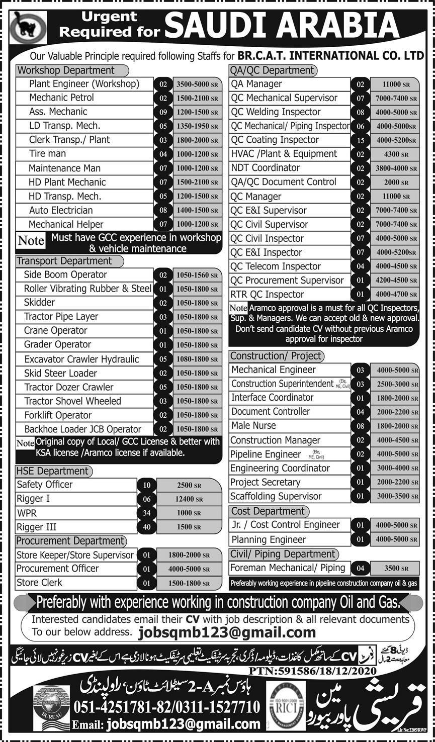 BR CAT International Company Limited Jobs 2021 in KSA