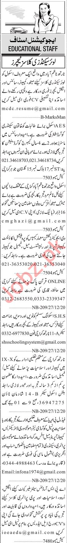 Jang Sunday Classified Ads Dec 2020 for Teaching Staff