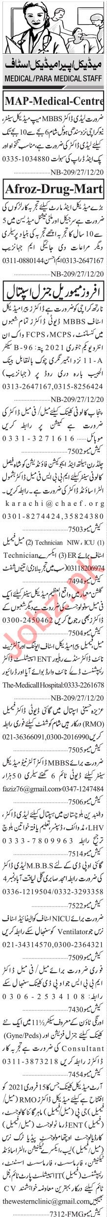Jang Sunday Classified Ads Dec 2020 for Medical Staff