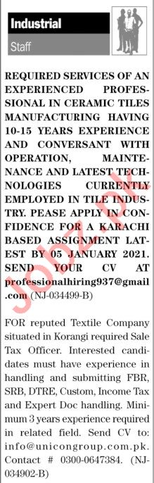 The News Sunday Classified Ads 27 Dec 2020 for Industrial