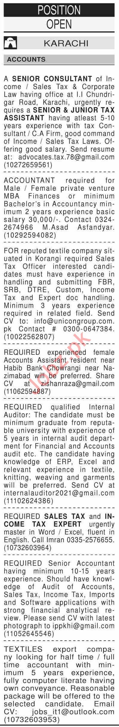 Dawn Sunday Classified Ads 27 Dec 2020 for Accounts Staff