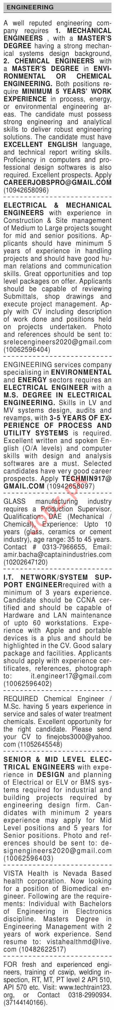 Dawn Sunday Classified Ads 27 Dec 2020 for Engineering Staff