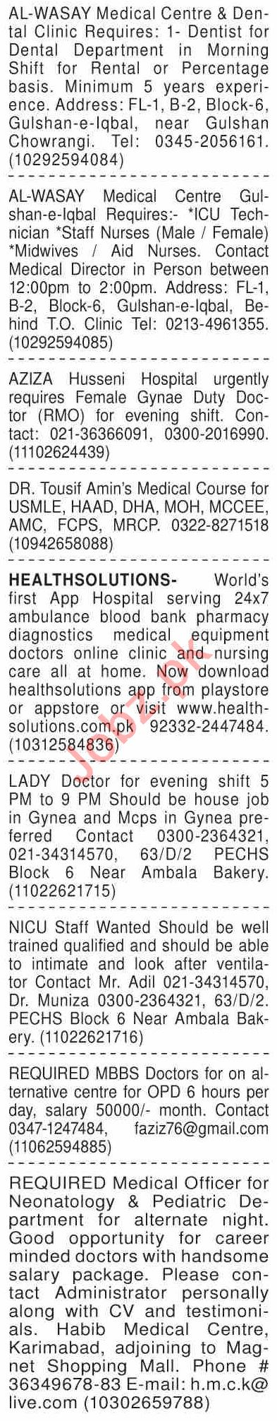 Dawn Sunday Classified Ads 27 Dec 2020 for Medical Staff