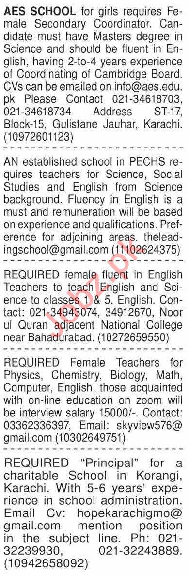 Dawn Sunday Classified Ads 27 Dec 2020 for Teaching Staff