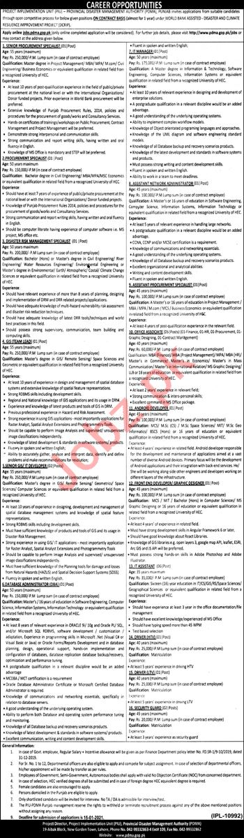 Provincial Disaster Management Authority PDMA Punjab Jobs