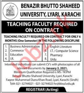 Benazir Bhutto Shaheed University Lyari BBSUL Jobs 2021
