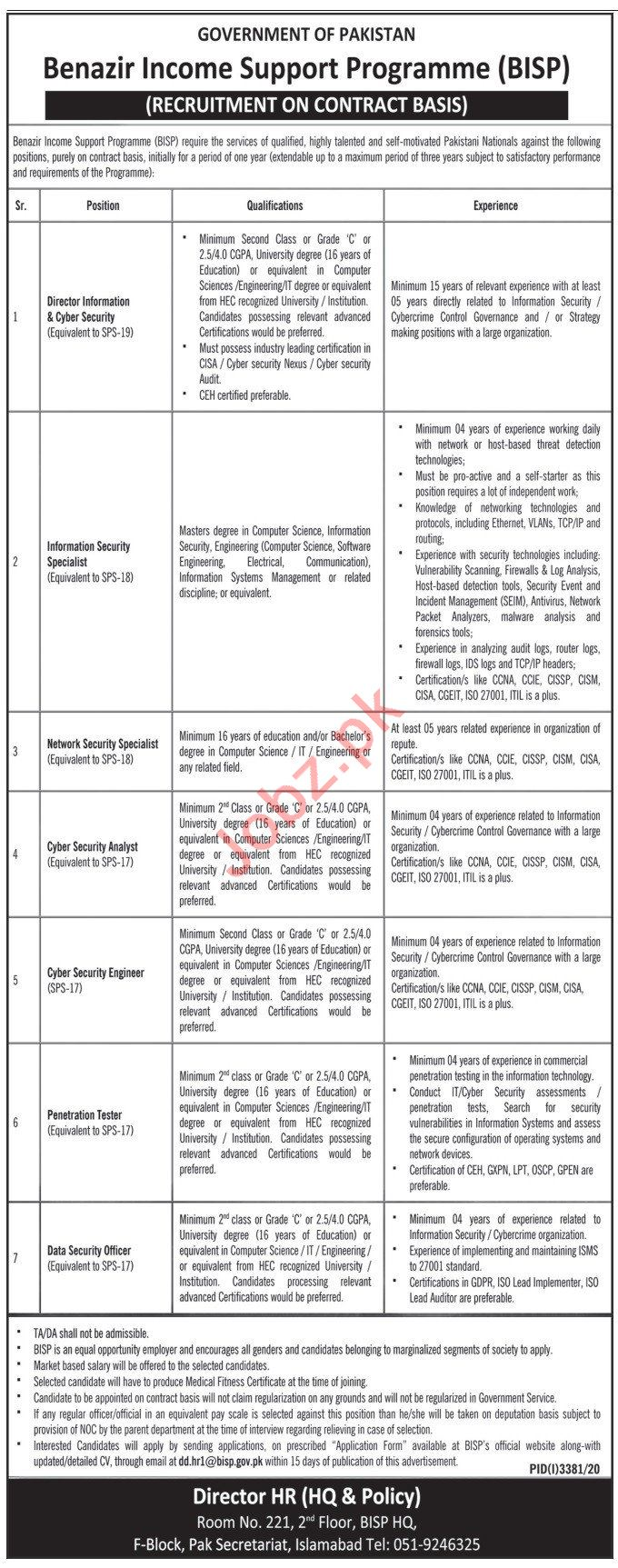 BISP Islamabad Jobs 2021 for Director & Security Specialist