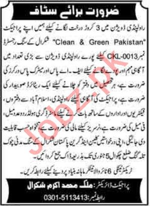 Clean & Green Pakistan Jobs 2021 for Social Workers