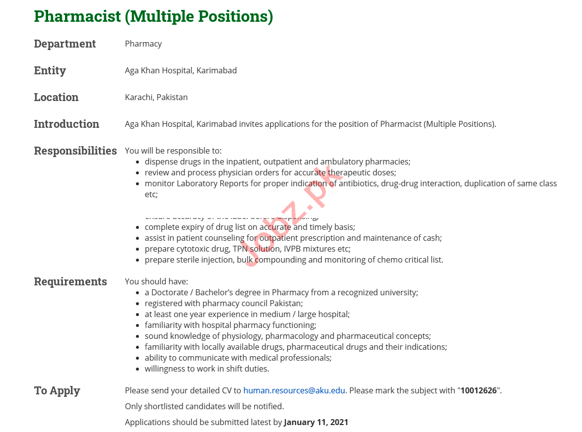 Aga Khan Hospital Jobs 2021 for Pharmacist