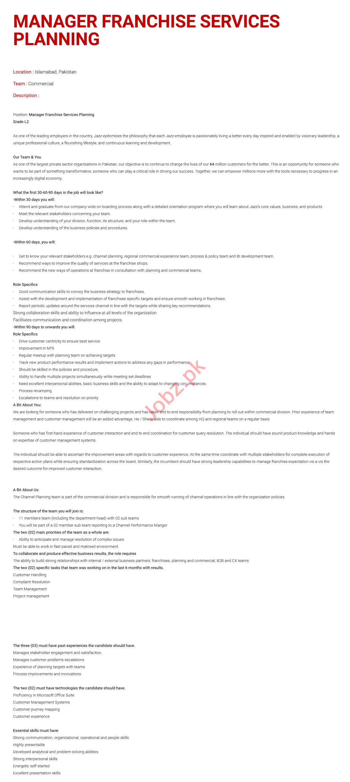 Manager Franchise Services Planning & Manager Jobs 2021