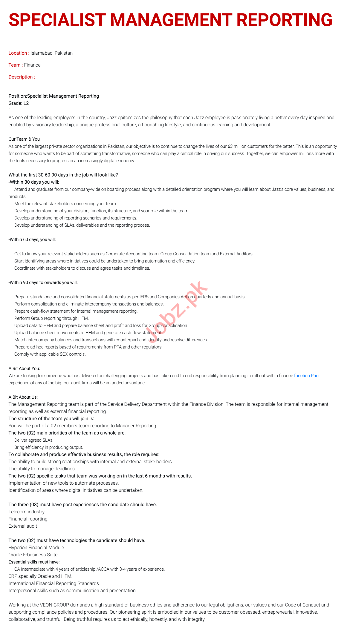Specialist Management Reporting Jobs 2021 in Islamabad
