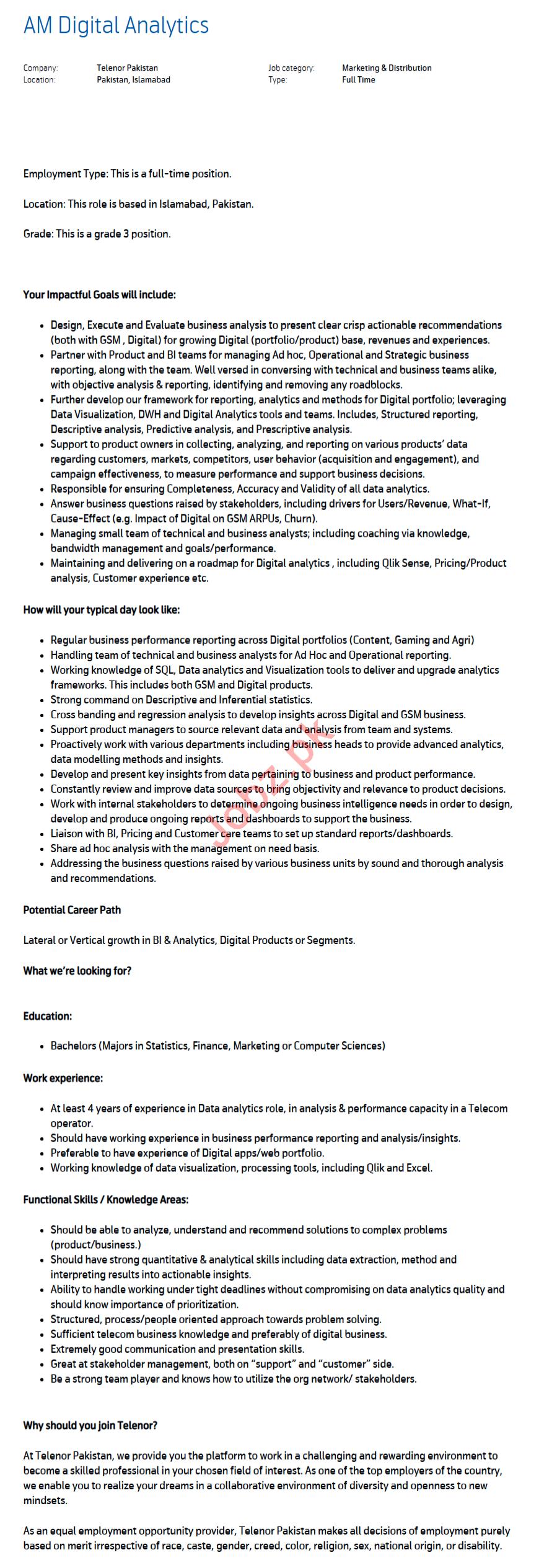 AM Digital Analytics Islamabad Jobs 2021 Telenor Pakistan