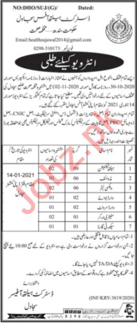 District Health Office DHO Sujawal Jobs Interview 2021